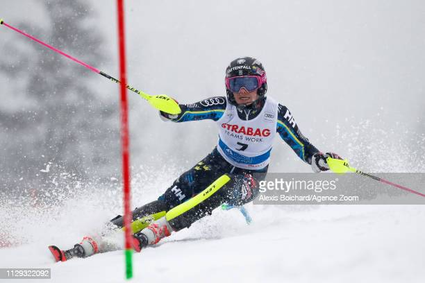 Frida Hansdotter of Sweden competes during the Audi FIS Alpine Ski World Cup Women's Slalom on March 9 2019 in Spindleruv Mlyn Czech Republic