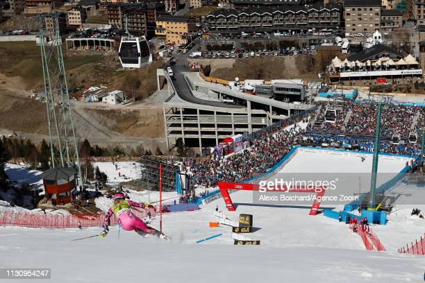 Frida Hansdotter of Sweden competes during the Audi FIS Alpine Ski World Cup Men's Giant Slalom and Women's Slalom on March 16 2019 in Soldeu Andorra
