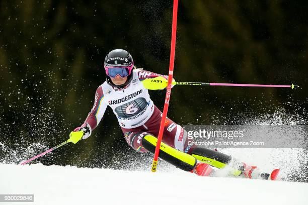 Frida Hansdotter of Sweden competes during the Audi FIS Alpine Ski World Cup Women's Slalom on March 10, 2018 in Ofterschwang, Germany.