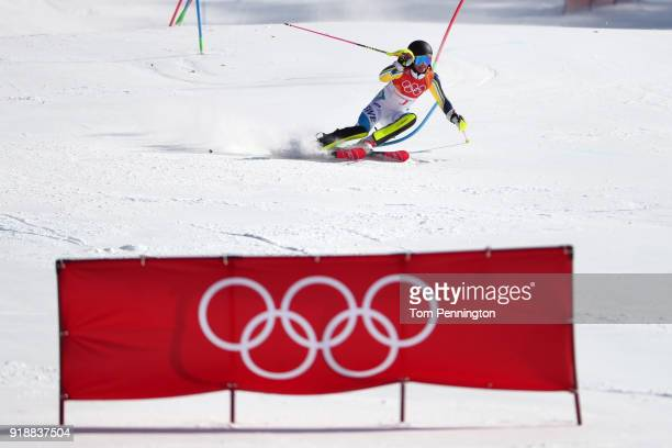 Frida Hansdotter of Sweden competes during the Ladies' Slalom Alpine Skiing at Yongpyong Alpine Centre on February 16 2018 in Pyeongchanggun South...