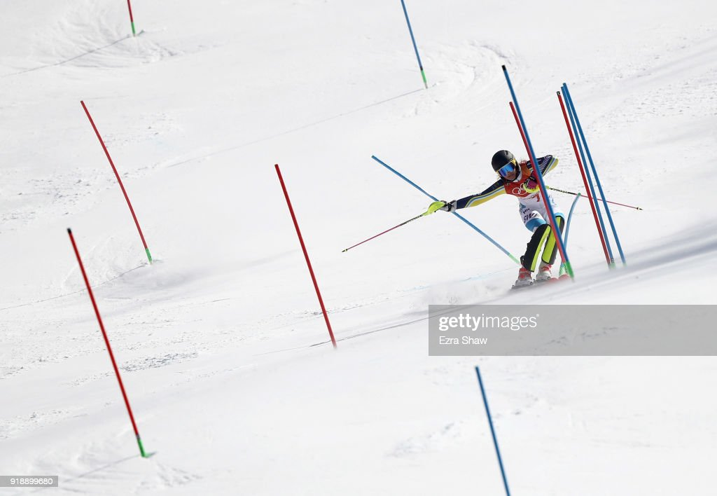 Frida Hansdotter of Sweden competes during the Ladies' Slalom Alpine Skiing at Yongpyong Alpine Centre on February 16, 2018 in Pyeongchang-gun, South Korea.