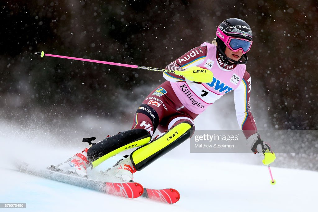 Frida Hansdotter #1 of Sweden competes in the first run during the Slalom competition during the Audi FIS Ski World Cup - Killington Cup on November 26, 2017 in Killington, Vermont.