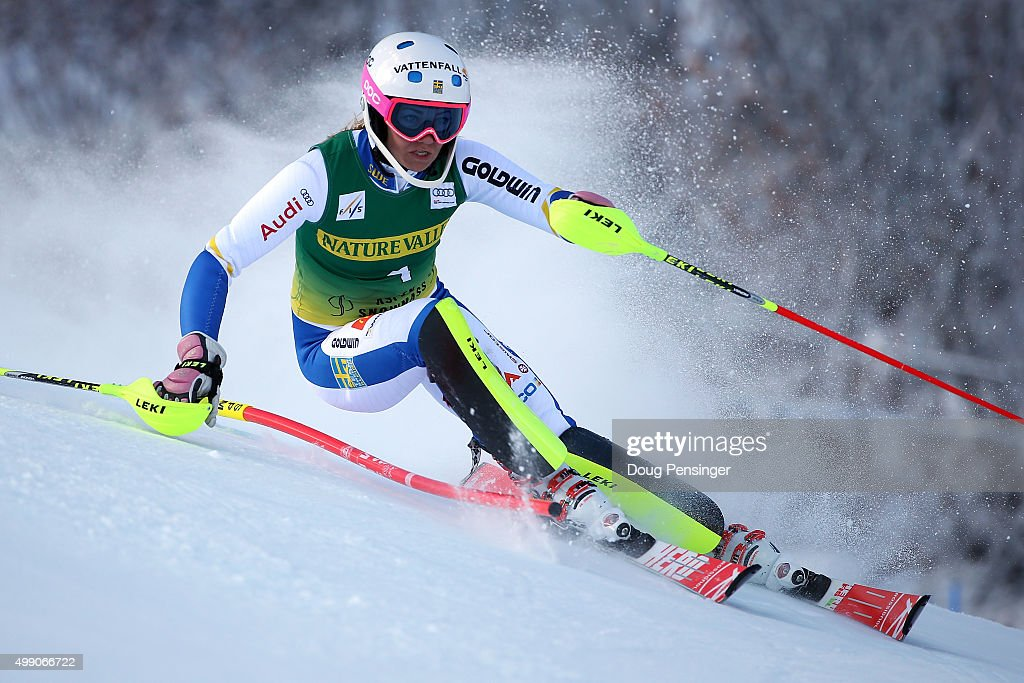 Frida Hansdotter of Sweden competes in the first run of the slalom during the Audi FIS Women's Alpine Ski World Cup at the Nature Valley Aspen Winternational on November 28, 2015 in Aspen, Colorado.