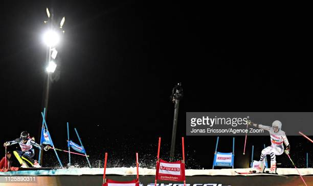 Frida Hansdotter of Sweden in action Christina Geiger of Germany in action during the Audi FIS Alpine Ski World Cup Men's and Women's City Event on...
