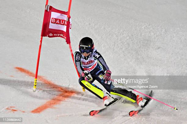 Frida Hansdotter of Sweden in action during the Audi FIS Alpine Ski World Cup Men's and Women's City Event on February 19 2019 in Stockholm Sweden