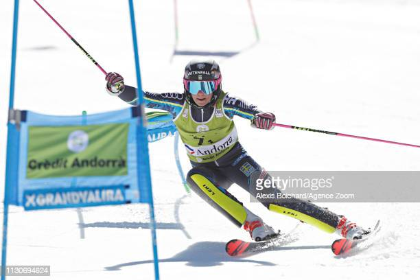 Frida Hansdotter of Sweden in action during the Audi FIS Alpine Ski World Cup Men's and Women's Alpine Team Event on March 15 2019 in Soldeu Andorra