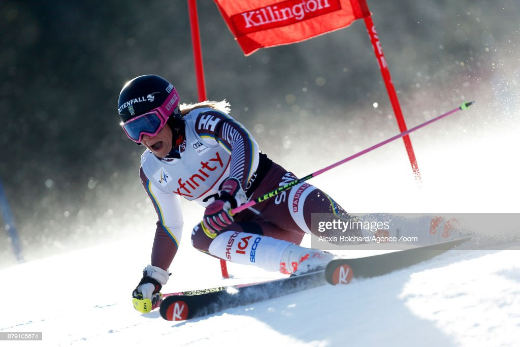 Frida Hansdotter of Sweden in action during the Audi FIS Alpine Ski World Cup Women's Giant Slalom on November 25, 2017 in Killington, Vermont.