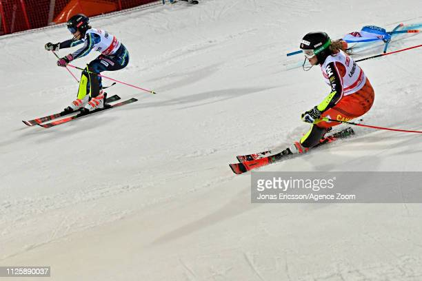 Frida Hansdotter of Sweden in action Laurence Stgermain of Canada in action during the Audi FIS Alpine Ski World Cup Men's and Women's City Event on...