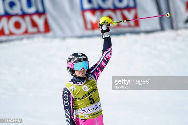 Frida Hansdotter of Sweden Ski Team who retires after today's competition greeting his fans after her last race during Ladies' Giant Slalom Audi FIS...