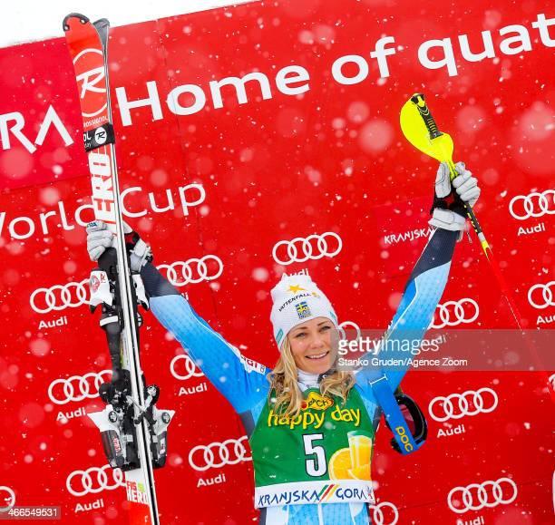 Frida Hansdotter of Sweden takes 1st place during the Audi FIS Alpine Ski World Cup Women's Slalom on February 02 2014 in Kranjska Gora Slovenia