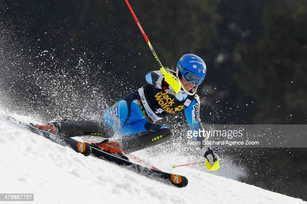 Frida Hansdotter of Sweden takes 2nd place and comes second in the overall slalom World Cup during the Audi FIS Alpine Ski World Cup Finals Women's...