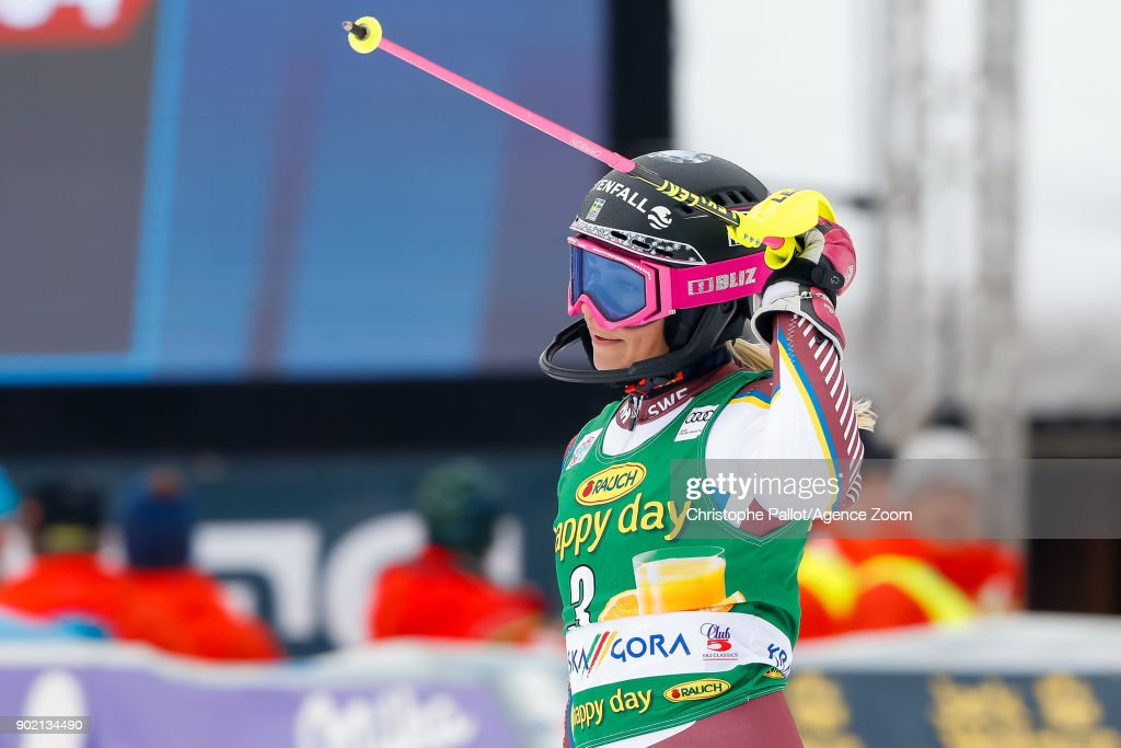Frida Hansdotter of Sweden takes 2nd place during the Audi FIS Alpine Ski World Cup Women's Slalom on January 7, 2018 in Kranjska Gora, Slovenia.
