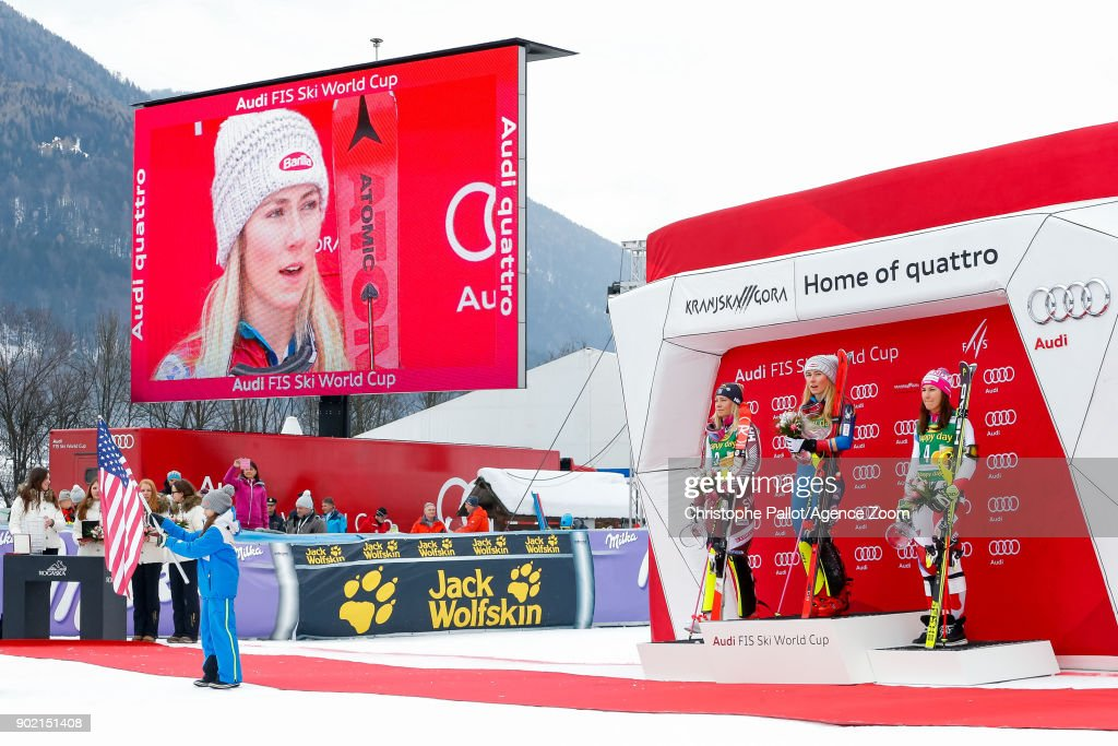 Frida Hansdotter of Sweden takes 2nd place, Mikaela Shiffrin of USA takes 1st place, Wendy Holdener of Switzerland takes 3rd place during the Audi FIS Alpine Ski World Cup Women's Slalom on January 7, 2018 in Kranjska Gora, Slovenia.