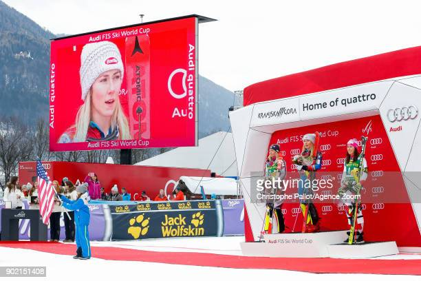 Frida Hansdotter of Sweden takes 2nd place Mikaela Shiffrin of USA takes 1st place Wendy Holdener of Switzerland takes 3rd place during the Audi FIS...