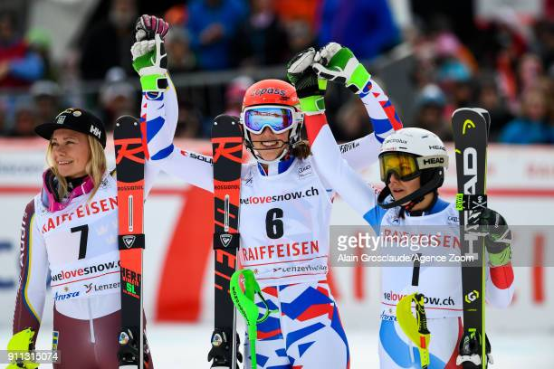 Frida Hansdotter of Sweden takes 2nd place Petra Vlhova of Slovakia takes 1st place Wendy Holdener of Switzerland takes 3rd place during the Audi FIS...
