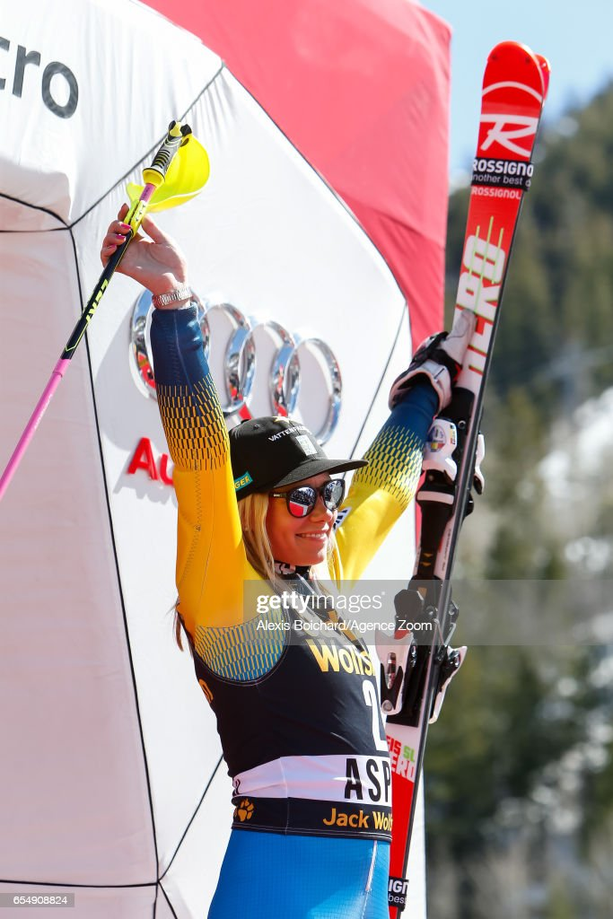 Frida Hansdotter of Sweden takes 3rd place during the Audi FIS Alpine Ski World Cup Finals Women's Slalom on March 18, 2017 in Aspen, Colorado