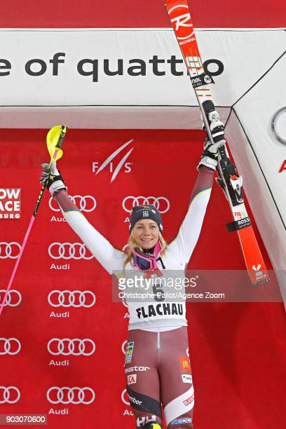 Frida Hansdotter of Sweden takes 3rd place during the Audi FIS Alpine Ski World Cup Women's Slalom on January 9 2018 in Flachau Austria