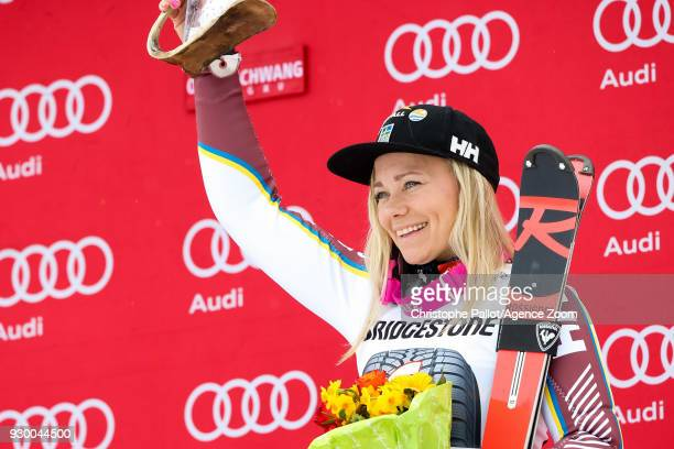 Frida Hansdotter of Sweden takes 3rd place during the Audi FIS Alpine Ski World Cup Women's Slalom on March 10 2018 in Ofterschwang Germany