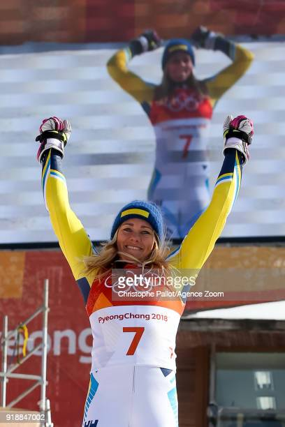 Frida Hansdotter of Sweden wins the gold medal during the Alpine Skiing Women's Slalom at Yongpyong Alpine Centre on February 16 2018 in...