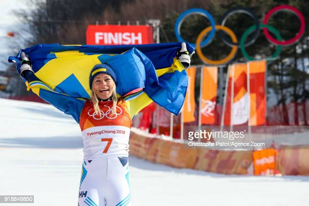 Frida Hansdotter of Sweden wins the gold medal during the Alpine Skiing Women's Slalom at Yongpyong Alpine Centre on February 16, 2018 in...