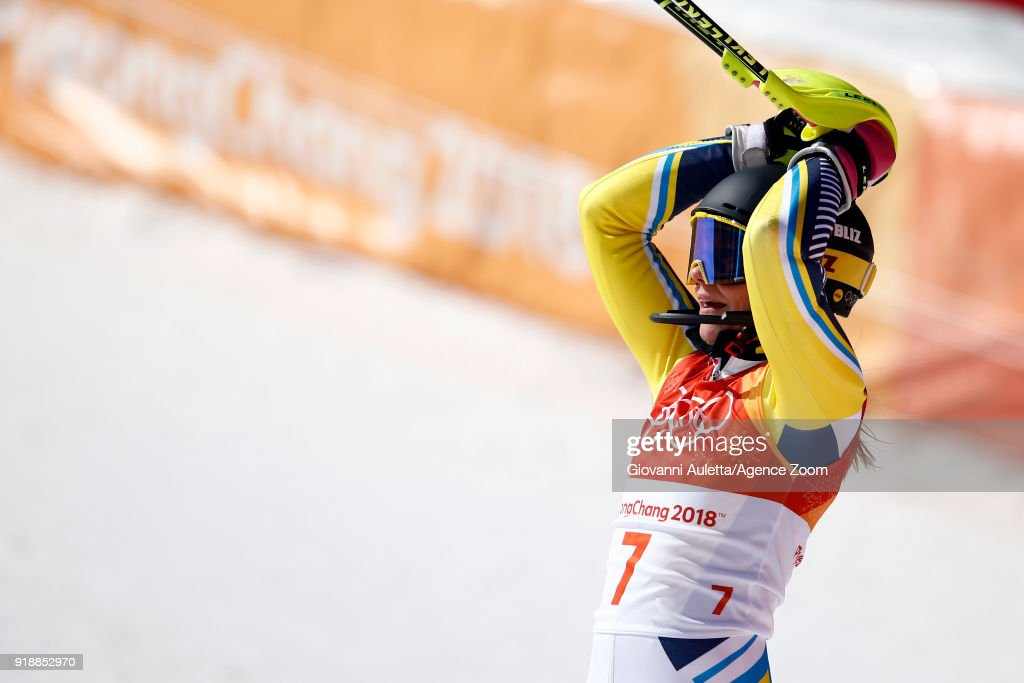 Frida Hansdotter of Sweden wins the gold medal during the Alpine Skiing Women's Slalom at Yongpyong Alpine Centre on February 16, 2018 in Pyeongchang-gun, South Korea.