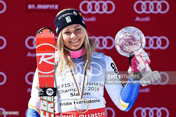 Frida Hansdotter of Sweden wins the slalom crystal globe during the Audi FIS Alpine Ski World Cup Finals Men's Giant Slalom and Women's Slalom on...