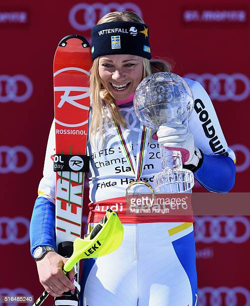 Frida Hansdotter of Sweden wins the slalom crystal globe during the Audi FIS Alpine Ski World Cup Finals Women's Slalom on March 19 2016 in St Moritz...