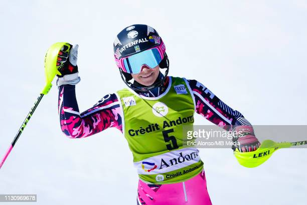 Frida Hansdotter of Switzerland on March 16, 2019 in Andorra la Vella, Andorra.