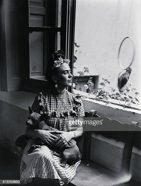 Frida Kahlo Mexican painter and wife of Diego Rivera is shown here