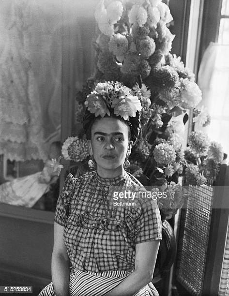 Frida Kahlo Mexican painter and wife of Diego Rivera is shown in this photograph