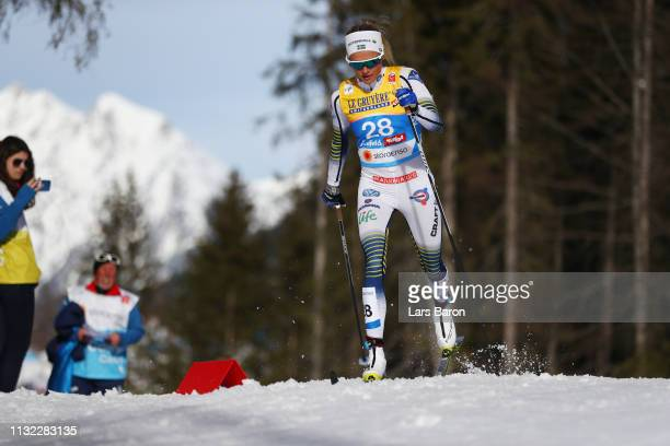 Frida Karlsson of Sweden competes in the CrossCountry Women's 10k race of the FIS Nordic World Ski Championships at Langlauf Arena Seefeld on...