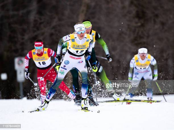 Frida Karlsson of Sweden competes in the sprint quarterfinal heat during the FIS Cross Country Ski World Cup Final on March 22 2019 in Quebec City...