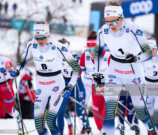 Frida Karlsson of Sweden competes in the Women's 10km classic mass start during the FIS Cross Country Ski World Cup Final on March 23 2019 in Quebec...