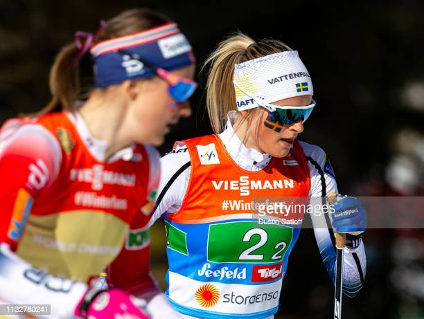 Frida Karlsson of Sweden competes in the Women's 4x5km Cross Country relay during the FIS Nordic World Ski Championships on February 28 2019 in...