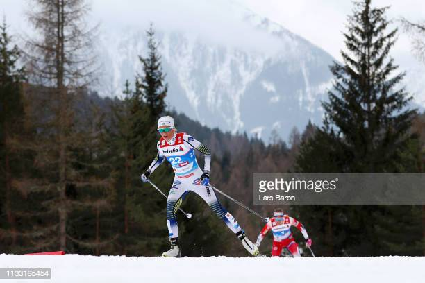 Frida Karlsson of Sweden competes in the Women's Cross Country 30k race during the FIS Nordic World Ski Championships on March 2 2019 in Seefeld...