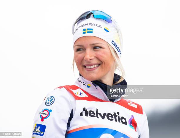 Frida Karlsson of Sweden during the flower ceremony after the Women's 30km Cross Country mass start during the FIS Nordic World Ski Championships on...