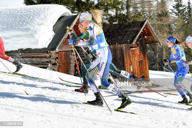 Frida Karlsson of Sweden during the Women's Cross Country Skiathlon at the FIS Nordic World Ski Championships at Langlauf Arena Seefeld on February...