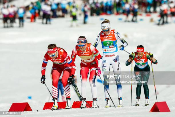 Frida Karlsson takes 1st place during the FIS Nordic World Ski Championships Women's Cross Country Relay on February 28 2019 in Seefeld Austria