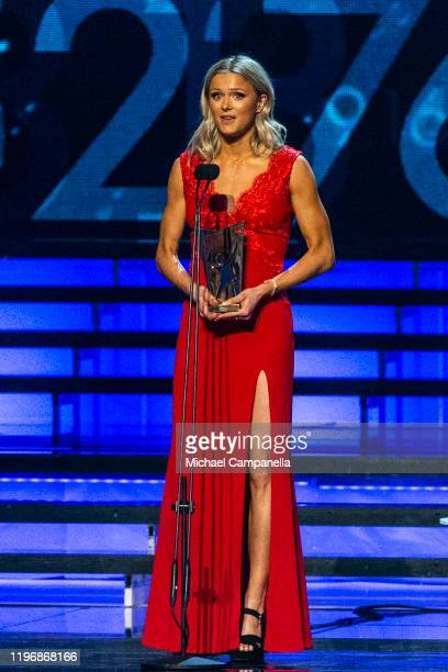 Frida Karlsson wins the award for Newcomer of the Year at Idrottsgalan the annual Swedish Sports Gala at the Ericsson Globe Arena on January 27 2020...