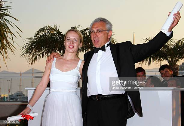 Frida Kempff and Serge Avedikian attend the Palme d'Or Award Ceremony Photo Call held at the Palais des Festivals during the 63rd Annual...