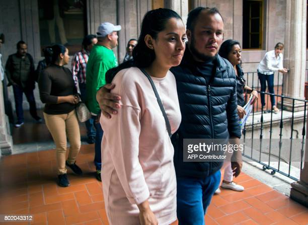 Frida Navidad Adame daughter of murdered Mexican journalist Salvador Adame arrives to deliver a press message in Morelia Michoacan Mexico on June 27...