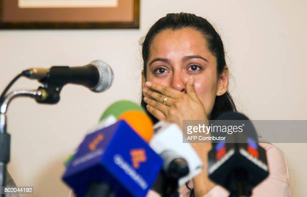Frida Navidad Adame daughter of murdered Mexican journalist Salvador Adame attends a press conference in Morelia Michoacan Mexico on June 27 2017...