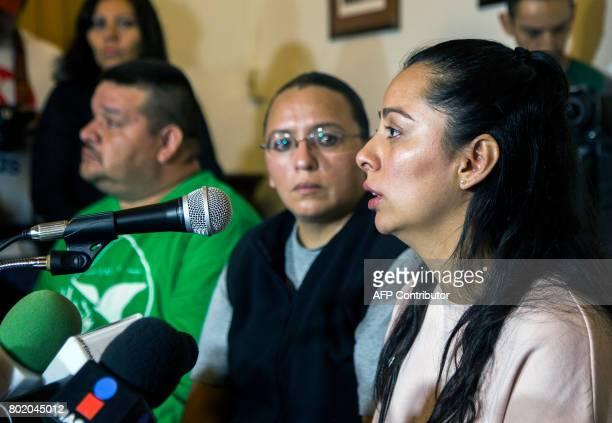 Frida Navidad Adame daughter of murdered Mexican journalist Salvador Adame delivers a press message in Morelia Michoacan Mexico on June 27 2017...