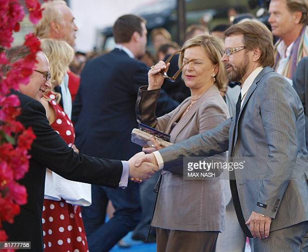 Frida Reuss and Bjorn Ulvaeusof of the Swedish group Abba are greeted as they arrive for the World Premiere of the film Mamma Mia in London's...