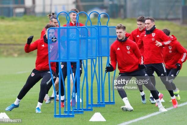 Friday 26 March 2021 Re: Wales national football team training, ahead of their international friendly against Mexico, at the Vale Resort, south...