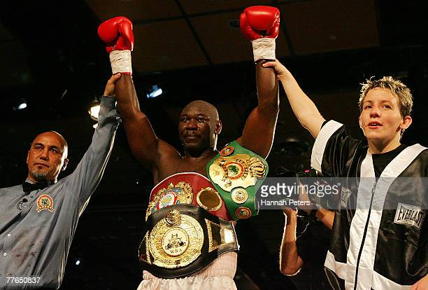 Friday Ahunanya of the USA celebrates after beating Shane Cameron of New Zealand during the WBO Asia Pacific Title Fight at the SKYCITY Convention...