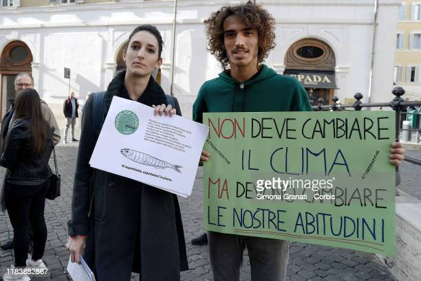 Friday For Future activists hold up signs in front of Parliament to promote the fourth Global Climate Strike on November 29th and to invite the...