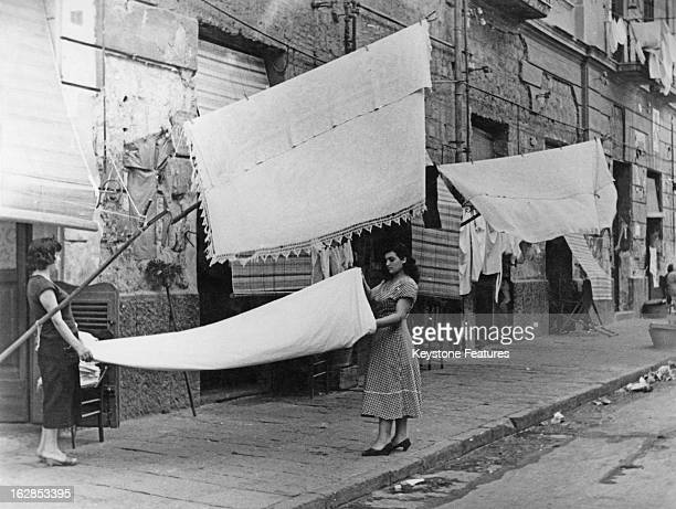 Friday is Wash Day for the people of Naples Italy July 1956