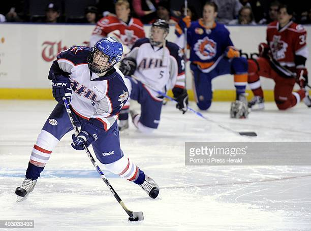 Friday January 15 2010 AHL Hockey All Star Classic skills competition Falmouth High School's Dan Hanley shoots during the accuracy shooting...