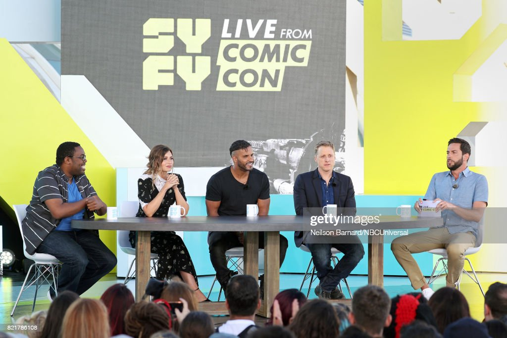 CON -- Friday, July 21st, 2017 -- Pictured: (l-r) Andre Meadows, Aly Michalka, Ricky Whittle, Alan Tudyk, and Zachary Levi --